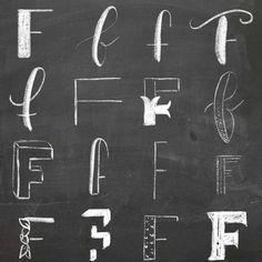 16 ways to write the letter F 💫 Letter F, Chalk Art, Hand Lettering, Alphabet, Fonts, Writing, Inspiration, Instagram, Designer Fonts