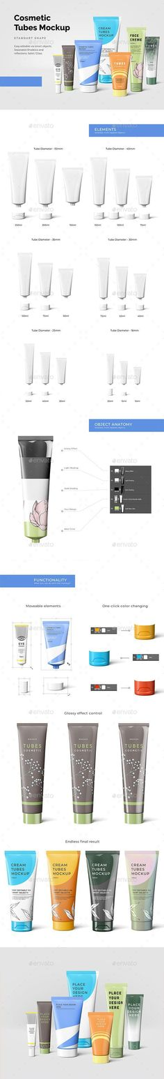 Buy Cosmetic Tubes Mockup by on GraphicRiver. A collection of cosmetic based elements with isolated and customizable elements – 18 Cosmetic Tubes and 15 Caps. Box Mockup, Mockup Templates, Label Design, Graphic Design, Package Design, Cosmetics Mockup, Mockup Photoshop, Beauty Packaging, Beauty Photos