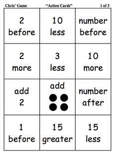 Here's a game for practicing number sense to 100. Includes number cards and action cards.