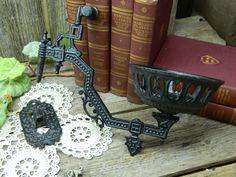 Antique Cast Iron Kerosene Lamp Holder Arm Wall Bracket by allthatsvintage56 on Etsy