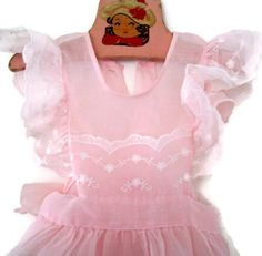 Vintage Child's Pink Organza Pinafore by MerrilyVerilyVintage