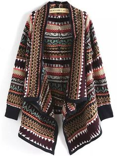 To find out about the Multicolor Geometric Print Loose Cardigan at SHEIN, part of our latest Sweaters ready to shop online today! Short Sleeve Cardigan, Long Sleeve Tops, Black Cardigan, Long Cardigan, Style Boho, My Style, Estilo Navajo, Multi Coloured Cardigans, Plus Zise