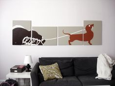 Dachshund Dog Paintings Custom Colors 18 x 24 Set by rickycolson, $240.00