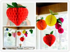 How To Make Honeycomb Tissue Ball Decorative Fruits | DIY Tag