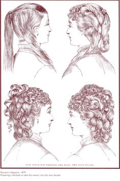 4-step how-to hairstyle  Late 1870's