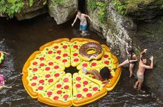 Pool Party Tip: Have each of your friends buy a floatie slice, then meet at the pool, river or watering hole to form your giant pizza pie. Now that's amore!
