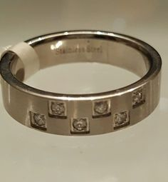 Men's Stainless Steel Band Ring 6 Cubic Zirconia Sizes 10.5, 12,13 USA Seller RC #Unbranded