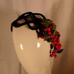 Wired Velvet Curvette Half Hat Royal Blue Red Berries & Leaves 40's - 50's  | eBay