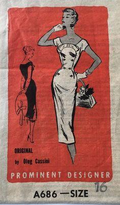50s Oleg Cassini Prominent Designer Sheath Dress Pattern A686 SZ 16 Bust 34 VTG #ReaderMail #Dayoreveningdress
