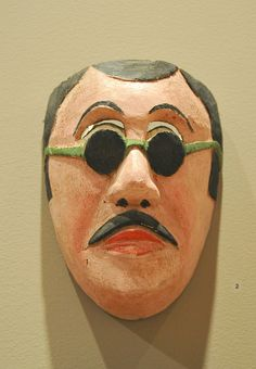 Man With Glasses Mask Mexico    This humorous wooden mask comes from the Nahua community of Zontecomatlan, Veracruz, Mexico. Part of the Ruth Lechuga collection which was displayed at the Mexican Cultural Institute in Washington, DC