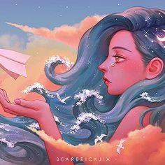Kawaii Drawings, Cute Drawings, Pretty Art, Cute Art, Art Hippie, Digital Art Girl, Cartoon Art Styles, Anime Art Girl, Animes Wallpapers