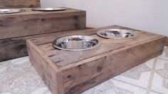 Small Dog food bowl stand, reclaimed wood, custom build pallet wood food stand,  upgraded puppy paw print bowls