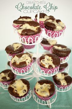 The most delicious Cream Cheese Chocolate Chip Cupcakes #creamcheese #cupcakes www.KristenDuke.com