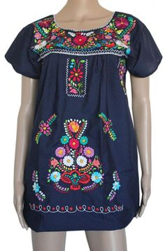 Lily Cruz Women's Embroidered Mexican Peasant Half Mini Dress at Amazon Women's Clothing store: Mexican Dresses For Women