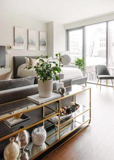 Nyc Studio Apartments, Studio Apartment Living, Studio Apartment Divider, Loft Apartment Decorating, Studio Apartment Layout, Studio Living, Apartment Ideas, Studio Home, Small Apartment Interior Design