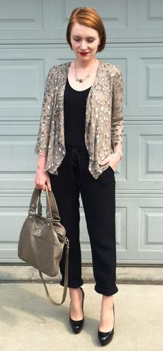 Jacket, Parker (thrifted); top, Gap (thrifted); pants, Aritzia (thrifted); shoes, Louboutin (thrifted); bag, MbMJ