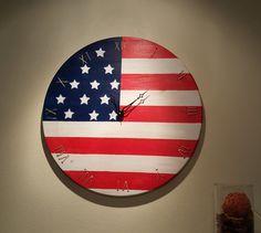USA Flag Wood Clock