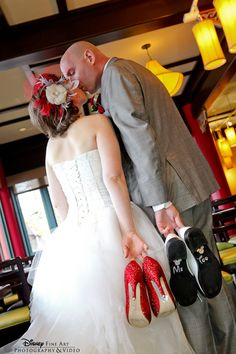 "This Disney bride uses her red glitter heels say ""I do"" and her groom says ""Me too"" #Disney #wedding #heels"