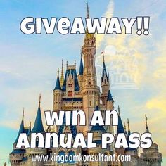 Want to win an annual pass to Walt Disney World or Disneyland?  Just like the Kingdom Konsultant page on FB https://www.facebook.com/KingdomKonsultantTravel and sign up for the Dis Dining weekly newsletter http://www.disneydining.com/disney-dining-daily-email-sign/    #wdw #disneyland #annualpass #kingdomkonsultant #disdining #giveaway