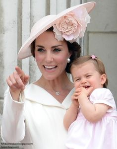 Catherine, Duchess of Cambridge and Princess Charlotte of Cambridge during the Trooping the Colour, this year marking the Queen's 90th birthday at The Mall on June 11, 2016 in London, England.