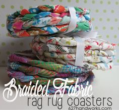 Rag Rug Coasters Are Great for Scraps I've been wanting to make these for a while so I thought I'd put together a little tutorial. It's Jelly Roll friendly if you have any leftover strips lying around. The final result… Quilted Coasters, Fabric Coasters, Crochet Projects To Sell, Sewing Crafts, Sewing Projects, Quilting Projects, Fun Projects, Diy Crafts, Cute Mug