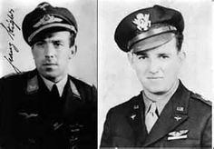 German fighter pilot, Franz Stigler, and American bomber pilot, Charlie Brown, who met in the air on December 20, 1943.  The badly damaged B-17 was a straggler, alone when Stigler came upon it in his Messerschmitt.  Instead of shooting it down, Stigler escorted the defenseless bomber past German flak batteries to the North Sea, where he saluted Brown before turning back. Brown managed to nurse the crippled bomber back to safety. They met in 1990 and were friends until both died in 2008.