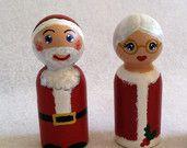 Large Size Santa and Mrs. Clause Peg People. $13.00, via Etsy.