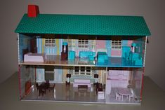 inside view of my doll house 1960s Toys, Retro Toys, Vintage Dollhouse, Vintage Dolls, Christmas Past, Vintage Christmas, Christmas Presents, Childhood Toys, Childhood Memories