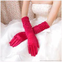 Red Long Wedding Gloves