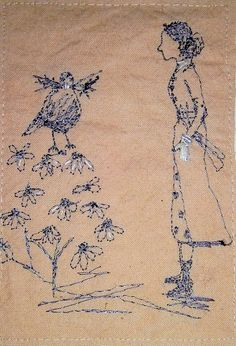 Betty and Birdy tidy the garden....a lovely piece by Michelle Holmes, love it!