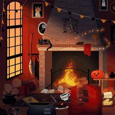 debbie-sketch:  Hogwarts Houses common rooms in Halloween...