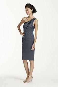Short One Shoulder Stretch Satin Bridesmaid Dress Style 8...
