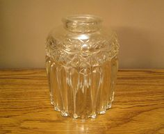 """Lamp Shade - Glass Light Cover - Thick - Pleated - 5.5"""" Height - 4.5"""" Width - 2.25"""" Fitter - Very Nice Vintage Condition -with Free Shipping"""