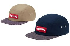 Supreme Canvas Stripe Camp Caps