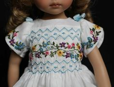"Smocked Embroidered Easter Outfit for Dianna Effner's 13"" Little Darling Dolls 
