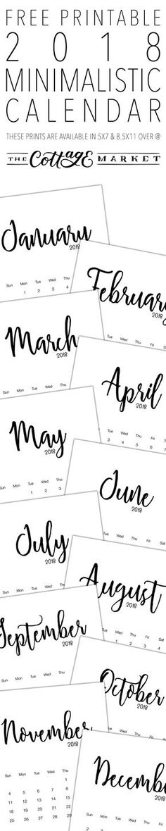 Free Printable 2018 Minimalistic Calendar