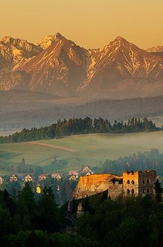 Czorstyn Castle at sunrise overlooking the Tatras, Poland