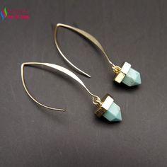 2015 new arrival gift earrings fashion designer blue taxture spike turquoise drop earrings for women brincos de gota feminino