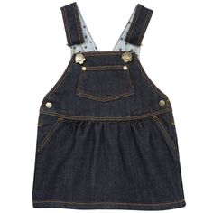 Stretch denim dungaree dress made of cotton and elastane blend. Adjustable straps with clips on the chest. Logo metal buttons. Front and back pockets with rivets. Machine washable at 30°C. - £ 30