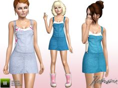 Overall Denim look dress by Harmonia - Sims 3 Downloads CC Caboodle