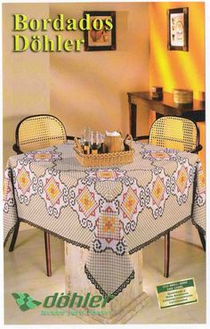 East Urban Home Reindeer on Nostalgic Rococo Damask Tablecloth Size: 72 Chicken Scratch Patterns, Chicken Scratch Embroidery, Tablecloth Sizes, Embroidery Stitches, Embroidery Patterns, Bordado Tipo Chicken Scratch, C2c, Rococo, Hand Embroidery