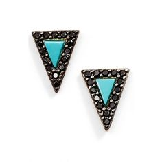 Freida Rothman 'Metropolitan' Triangle Stud Earrings (44.430 CLP) ❤ liked on Polyvore featuring jewelry, earrings, 14 karat gold earrings, stud earrings, freida rothman, black and gold jewelry and earrings jewelry