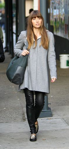 Jessica Biel - I love her coat and paired with leather skinnies