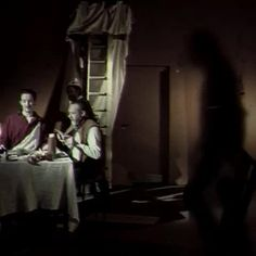 """This MTV European Eye Award winning short film funded by the Arts Council of Ireland uses the compositions of Christian Art to illustrate contemporary social issues. This image references Carravaggio's """"Supper at Emmaus"""" in showing working men. Conceived and directed by Marc-Ivan O'Gorman"""