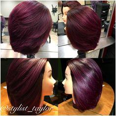 Blackberry Wine ❤️ Dimensional Purple ❤️ Violet Red ❤️ Scruples ❤️ Utopia Salon and Day Spa ❤️ Bob ❤️ Hair ❤️ Short Hair ❤️ Smooth ❤️ Volume ❤️ Hair Color Balayage, Hair Highlights, Love Hair, Gorgeous Hair, Hair Color Purple, Fall Hair, Healthy Hair, New Hair, Straight Hairstyles