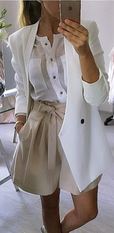 white and nude | blouse + blazer and shorts