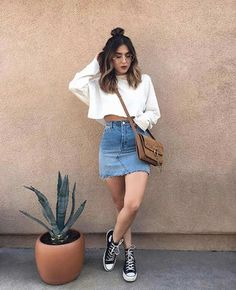 Denim skirt outfits - Jean Skirts - Ideas of Jean Skirts Teen Fashion Outfits, Trendy Outfits, Trendy Fashion, Fall Outfits, Summer Outfits, Cute Outfits, Fashion Clothes, Jeans Fashion, Fashion Fall