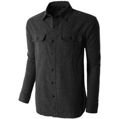 LE3NO PREMIUM Mens Heavyweight Regular Fit Solid Button Down Flannel... ($31) ❤ liked on Polyvore featuring mens, men's clothing, men's shirts and men's casual shirts