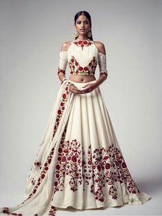 Buy White Floral Embroidered Banglori Silk Semi Stitched Lehenga Choli online in India at best price.Product ID 1075363 Type Lehenga choli Returns 7 day Refund Policy Shipping Available Worldwide Package Indian Fashion Trends, India Fashion, Asian Fashion, Indian Fashion Modern, Lehenga Designs, Indian Wedding Outfits, Indian Outfits, Indian Attire, Indian Wear