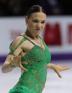 alena leonova - Google Search -Green Figure Skating / Ice Skating dress inspiration for Sk8 Gr8 Designs.
